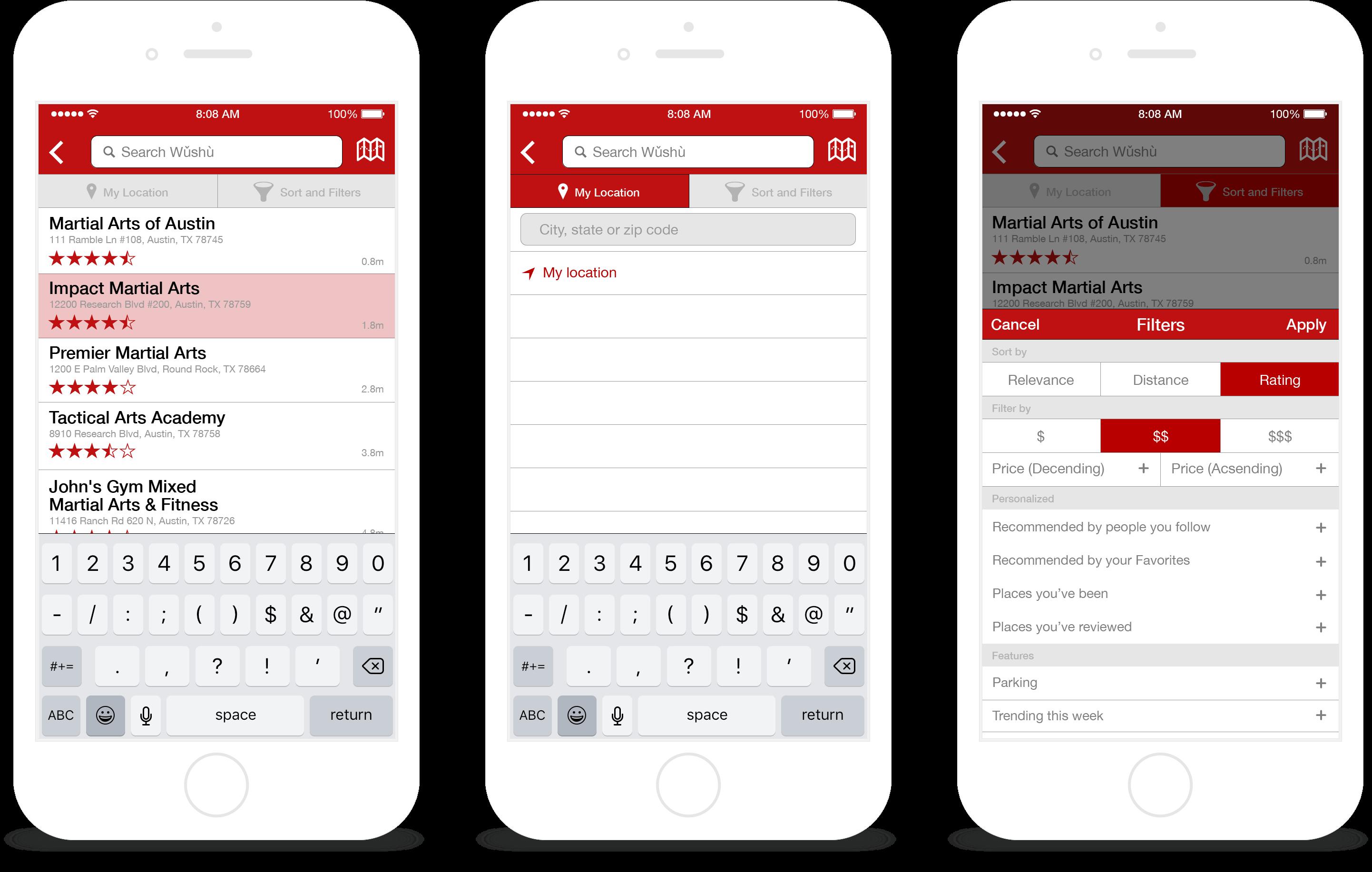 Screenshots: Home & Search