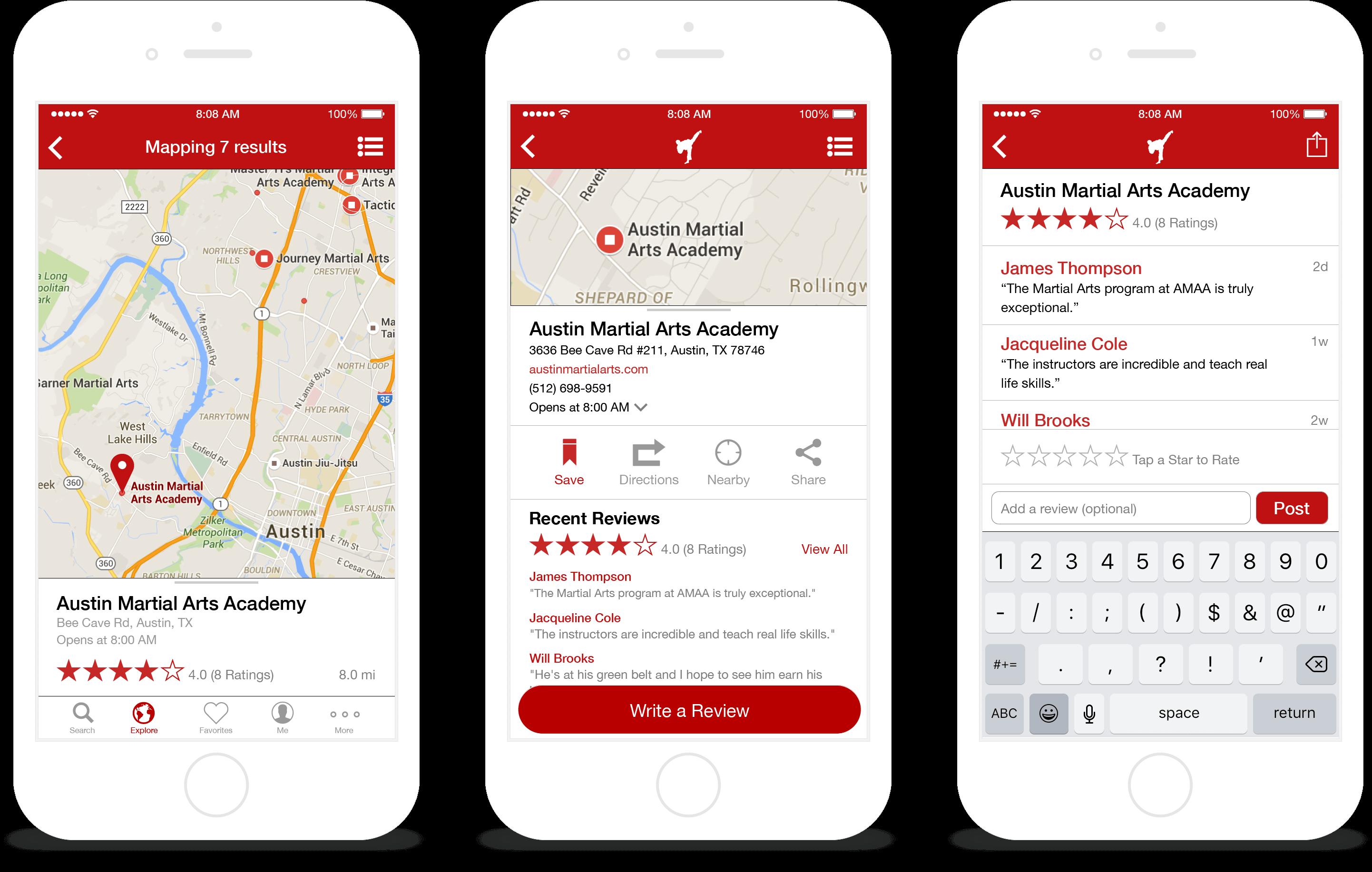 Screenshots: Map & Reviews